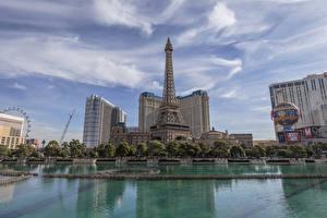 Hintergrundbilder Vereinigte Staaten Gebäude Teich Himmel Las Vegas Eiffelturm