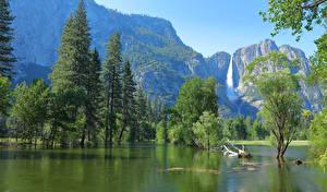Wallpaper USA Park Mountains Lake Yosemite Trees Nature