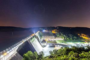 Fotos USA Wasserfall Himmel Stern Nacht Talsperre Lichtstrahl Norris Dam State Park Tennessee Natur