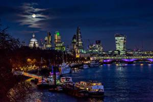 Images United Kingdom Rivers Houses Bridges Berth Sky Riverboat London Moon Blackfriars Bridge Cities