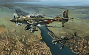 Bilder Flugzeuge Gezeichnet Deutsch Junkers Ju.87 Stuka Heer