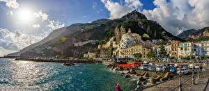 Pictures Amalfi Italy Coast Houses Mountain Stone Bay Cities