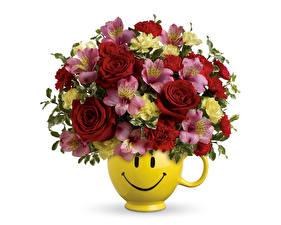 Fonds d'écran Bouquets Smilies Rose Alstroemeria Fond blanc Vase fleur