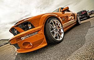 Fotos Nahaufnahme Ford Rad Orange Metallisch Mustang, Cobra auto