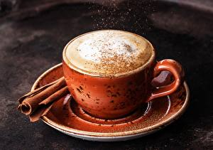 Photo Coffee Cappuccino Cinnamon Cup Saucer Food