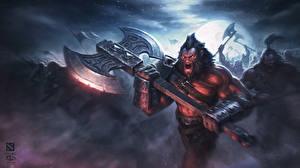 Wallpapers DOTA 2 Warriors Axe Battle axes Screaming vdeo game Fantasy