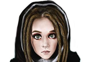 Image Dreads Painting Art Staring Face young woman