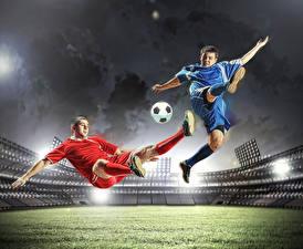 Fotos Fußball Mann Zwei Uniform Ball Bein Sprung Stadion Schlag Sport