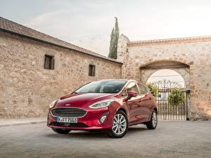 Hintergrundbilder Ford Rot Metallisch 2017 Fiesta Titanium 5-door Worldwide Autos