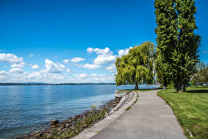 Wallpapers Germany Rivers Coast Sky Trees Clouds Waterfront Stetten Nature