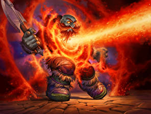 Pictures Gnome Fire Warrior Hearthstone: Heroes of Warcraft Battle axes Lava Shock, Blackrock Mountain Games