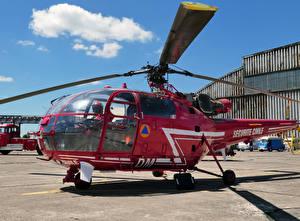 Hintergrundbilder Hubschrauber Bordeauxrot SA 316B Alouette III C Luftfahrt