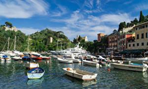 Bilder Italien Gebäude Binnenschiff Boot Seebrücke Jacht Bucht Portofino Städte