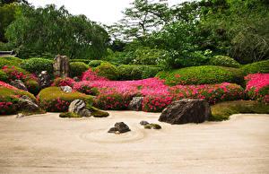 Wallpaper Japan Kyoto Gardens Stones Shrubs Karesansui Nature