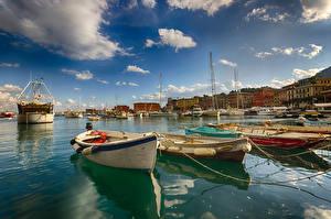 Wallpaper Liguria Italy Building Ships Boats Sky Bay Clouds Santa Margherita Cities