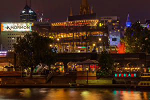 Pictures Melbourne Australia Building Rivers Night Cities