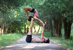 Fonds d'écran Homme Gymnastique 2 Activité physique Main Jambe Sport Filles
