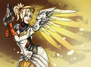 Pictures Overwatch Angels Painting Art Fan ART Angela Ziegler, Mercy Games Fantasy Girls