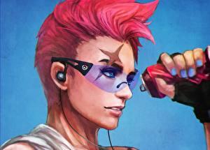 Wallpapers Overwatch Glasses Redhead girl Face Fan ART Headphones Russian, Aleksandra Zaryanova, zarya Games Fantasy Girls