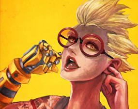 Pictures Painting Art Overwatch Glasses Face Blonde girl Fan ART Junkrat Games Fantasy Girls