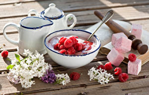 Bilder Himbeeren Syringa Bretter Frühstück Marshmallow Kanne Lebensmittel