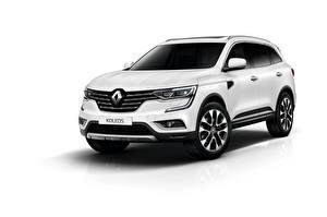 Pictures Renault White background White CUV Koleos automobile
