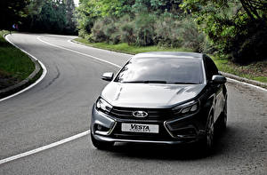 Images Russian cars Lada Gray Vesta