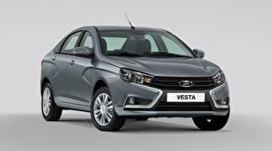 Pictures Russian cars Lada Grey Gray background Vesta automobile