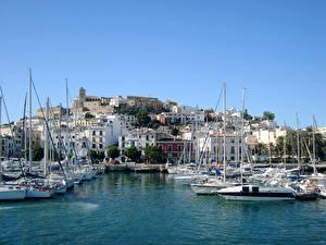 Bilder Spanien Haus Seebrücke Segeln Jacht Bucht Ibiza Balearic Islands Städte