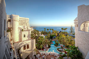 Wallpapers Spain Resorts Houses Canary Islands Pools Palms Hotel Tenerife Cities