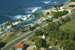 Hintergrundbilder Sri Lanka Tropen Küste Straße Palmen Von oben Koggala Natur