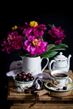 Fotos Stillleben Zinnien Kirsche Wasserkessel Tee Schwarzer Hintergrund Tasse Kanne Lebensmittel