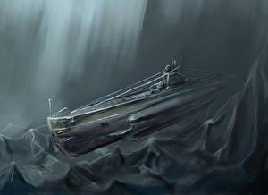 Wallpaper Submarines Painting Art Russian ShCh class (Scuka) Army