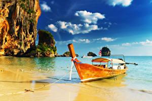 Images Thailand Tropics Coast Boats Cliff Clouds PhraNang Cave Beach Nature