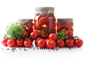 Pictures Tomatoes Spices Dill White background Jar Food