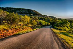 Wallpapers USA Roads Texas Hill Shrubs Llano Nature