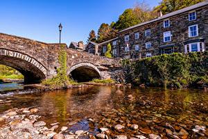 Pictures United Kingdom Building River Bridges Stone Street lights Wales Gwynedd Cities