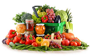 Pictures Vegetables Fruit Honey Pepper Tomatoes Grapes Strawberry White background Wicker basket Jar Food