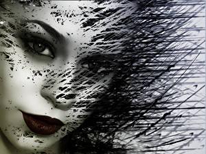 Hintergrundbilder Abstrakte Kunst Gesicht Blick junge Frauen