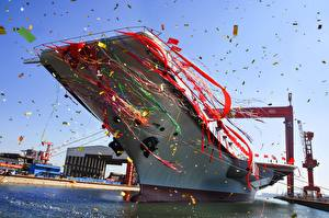 Image Aircraft carrier China Confetti Ribbon Chinese Type 001A