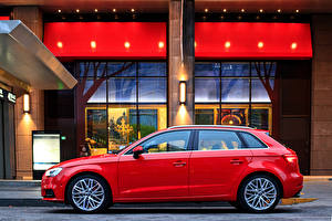 Bilder Audi Rot Seitlich Metallisch 2017 A3 Sportback 35 TFSI auto