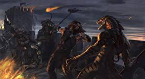 Bakgrunnsbilder Slag Monster Kriger Bokillustrasjoner The Envoy