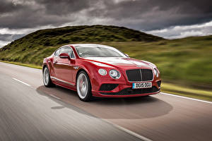 Pictures Bentley Red Driving Continental 2015 Cars