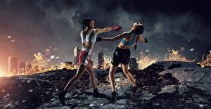 Bakgrunnsbilder Boksing To 2 Fysisk trening Uniform Slå Unge_kvinner