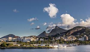 Wallpaper Brazil Houses Mountain Marinas Ships Rio de Janeiro Clouds Cities