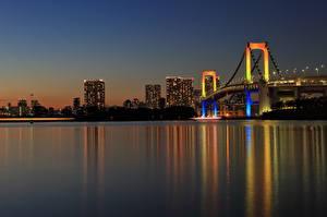 Fondos de Pantalla Puentes Tokio Japón Noche Bahía Rainbow Bridge Ciudades