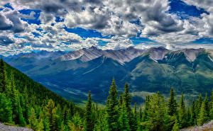 Pictures Canada Parks Mountains Forest Landscape photography Banff Clouds HDRI Nature
