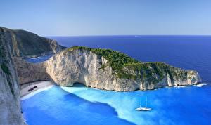 Bilder Küste Griechenland Meer Kleine Bucht Felsen Zakynthos, Navagio Natur