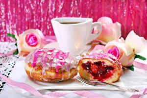 Картинка Кофе Пончики Сахарная глазурь Чашке