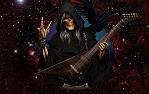 Fotos Sensenmann Aaskrähe Stern Gitarre Kapuze Fantasy
